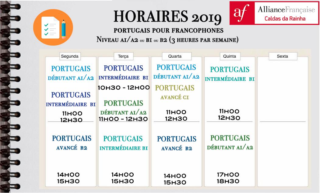 HORAIRES DES COURS DE PORTUGAIS POUR FRANCOPHONES