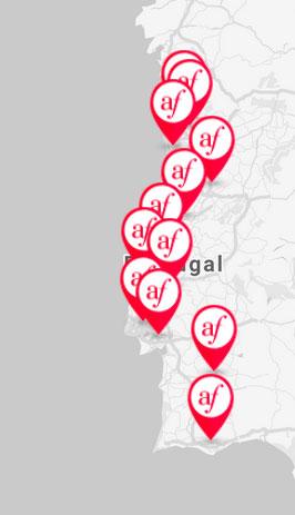 Mapa Alliances françaises em Portugal